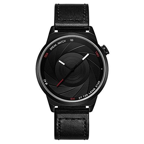 Break Marke neue Herren Damen Unisex Cool Sports einfach schwarz Lederband Quarz Creative Fashion Fotografen Serie Uhren