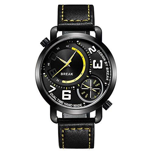 Break NEU ORIGINAL Herren Dual Time Zone Sport Fashion Top Luxus Leder braun Trageriemen Quarz Wasserdicht Uhren 3023ye