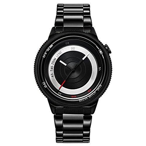 Break Neue Original Luxus Maenner Frauen Unisex Schwarz Edelstahl Buegel beilaeufige Art und Weise kreative Fotograf Cool Sports Uhren