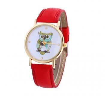 DESIGN FREUNDE Uhr Damenschmuck Schmuck Armschmuck Armreifen Schmuckset Watch Accessoires Armbanduhr Eule Rot