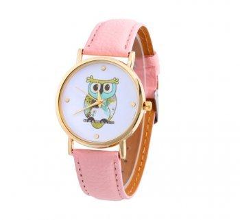 DESIGN FREUNDE Uhr Damenschmuck Schmuck Armschmuck Armreifen Schmuckset Watch Accessoires Armbanduhr Eule Rosa