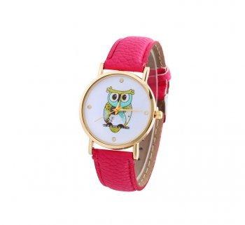 DESIGN FREUNDE Uhr Damenschmuck Schmuck Armschmuck Armreifen Schmuckset Watch Accessoires Armbanduhr Eule Pink