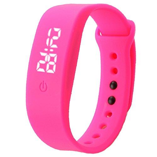 Vovotrade Damen Herren Gummi LED Uhr Datum Sports Armband Hot Pink