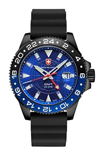 CX SWISS MILITARY WATCH GMT NERO SCUBA 27771 Swiss Made 20ATM Silikon 106g