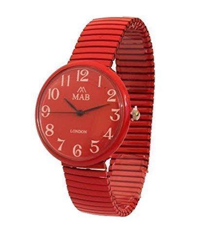 Armbanduhr Uhr Unisex rote Farbe verstellbar MAB Designer modern rund verstellbares Armband