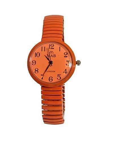 Damen Orange Farbige Erweiterbar MAB Designermode uhr runde Armband Extra Batterie Akku