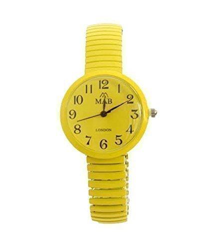 Gelb Farbigers Erweiterbares Uhrenband MAB Designer Mode Uhr Rundes Ziffernblatt