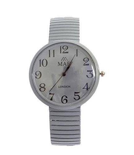 MAB Armbanduhr Unisex Graues Erweiterbares Band Designer Mode Rundes Ziffernblatt