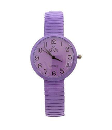 MAB Designer Fashion Uhr Rund Erweiterbares Armband Damen Lila