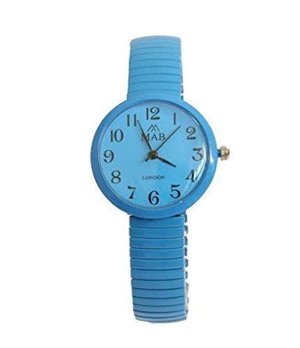 Damen Tuerkis Runde MAB Designer Modische Armbanduhr Erweitbares Armband