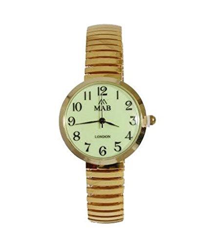MAB Unisex Gold mit leuchtenden Flaeche erweiterbar Mode Metall Uhr Runde Expander Armband Analog Quarz zusaetzlichen Akku