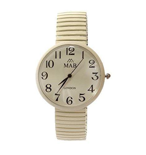 MABZ Unisex Cremefarben Dehnbare Designer Modische Armbanduhr Rund Expander Armband