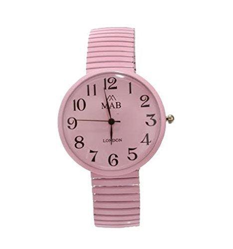 MABZ Unisex Rosa Dehnbare Designer Modische Armbanduhr Rund Dehnbares Armband