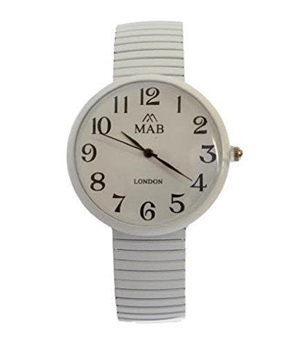 MABZ Unisex Weiss Dehnbare Designer Modische Armbanduhr Rund Expander Armband