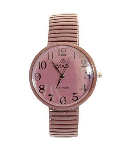 Unisex Schokoladenbraune MAB Designer Modische Armbanduhr mit Erweiterungsfaehigem Armband