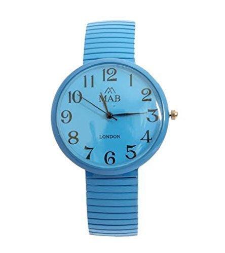 Unisex Tuerkise Designer Modische Runde Uhr mit Erweitbarem Armband