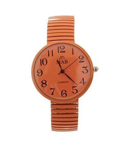 Unisex Designer Armbanduhr Orange mit Expander Armband