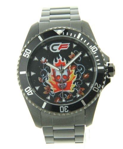 Mens Cage Fighter Schwarz Edelstahl Rotierende Luenette Watch CF332017BKBK
