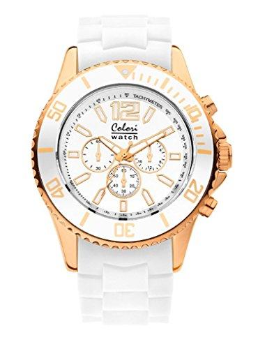 Colori Watch weiss rose 48mm Chrono Look Silikon Kunststoff