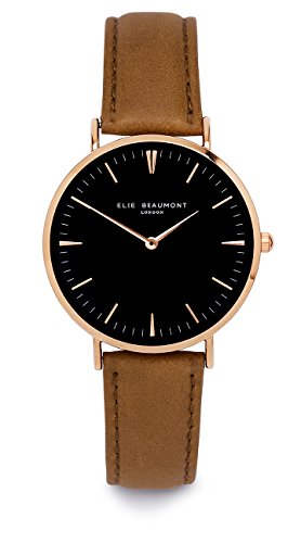 Elie Beaumont Quarz Damen Grosse Armbanduhr mit schwarzem Zifferblatt Analog Display Oxford grossen Camel Nappa Lederband eb805g