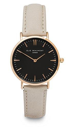 Elie Beaumont Quarz Damen Grosse Armbanduhr mit schwarzem Zifferblatt Analog Display Oxford grossen Stone Nappa Leder eb805g Stone schwarz