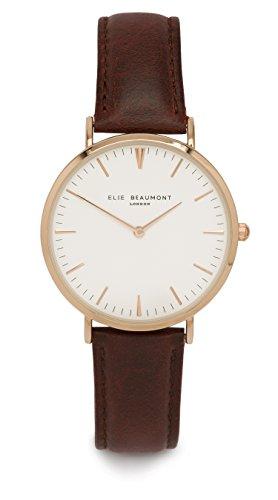 Elie Beaumont Oxford Quarzuhr Armbanduhr elegant Uhr modisch Zeitloses Design klassisch Leder weiss braun