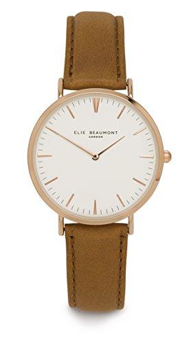 Elie Beaumont Oxford Quarzuhr Armbanduhr elegant Uhr modisch Zeitloses Design klassisch Leder weiss senf