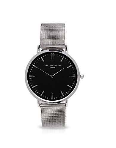 Elie Beaumont Quarz klein mit schwarzem Zifferblatt Analog Display Oxford Mesh eb805lmsilverblack