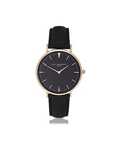 Elie Beaumont Damen Quarz Armbanduhr klein mit schwarzem Zifferblatt Analog Anzeige Oxford klein schwarz Nappa Leder eb805lblackblack
