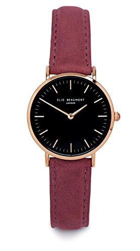 Elie Beaumont Damen Quarz Armbanduhr klein mit schwarzem Zifferblatt Analog Anzeige Oxford klein Pink Nappa Leder eb805lpinkblack