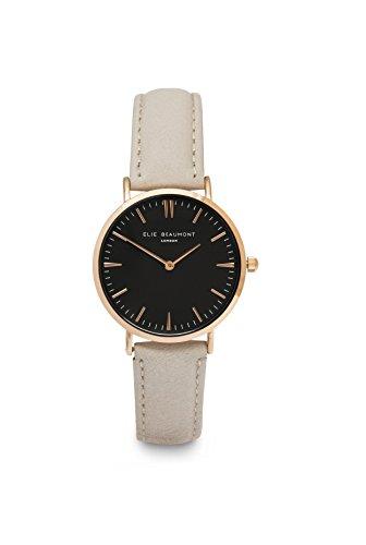 Elie Beaumont Damen Quarz Armbanduhr klein mit schwarzem Zifferblatt Analog Anzeige Oxford Kleiner Stein Nappaleder eb805lstoneblack