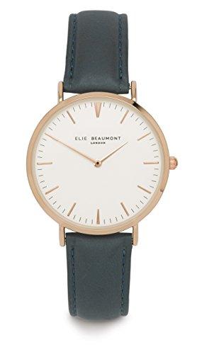 Elie Beaumont Oxford Quarzarmbanduhr elegante stilvolle Uhr Zeitloses Design klassischen Leder weiss blau