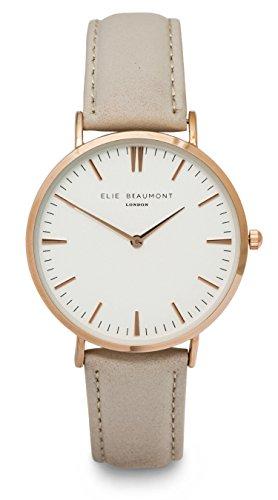 Elie Beaumont Quarz Damen Grosse Uhr mit weissem Zifferblatt Analog Anzeige Oxford Grosse Stone Nappa Leder eb805g Stein
