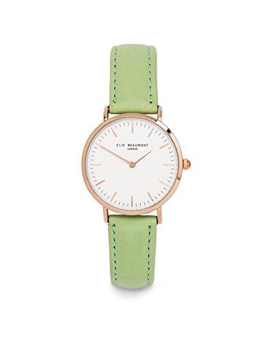 Elie Beaumont Quarz Damen kleine Uhr mit weissem Zifferblatt Analog Anzeige Oxford klein LIME Nappaleder eb805llime