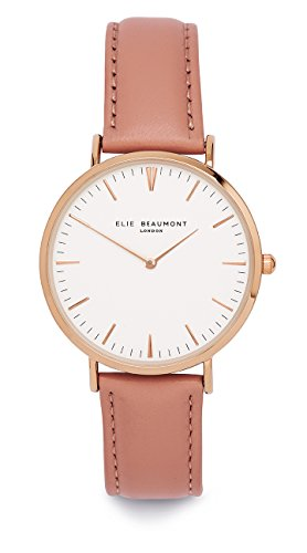 Elie Beaumont Quarz Damen Grosse Uhr mit weissem Zifferblatt Analog Display Oxford Large Rosa Nappaleder eb805g