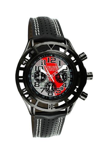 Black Mustang Boss 302 Quartz Chronograph Leather Strap Gray Red