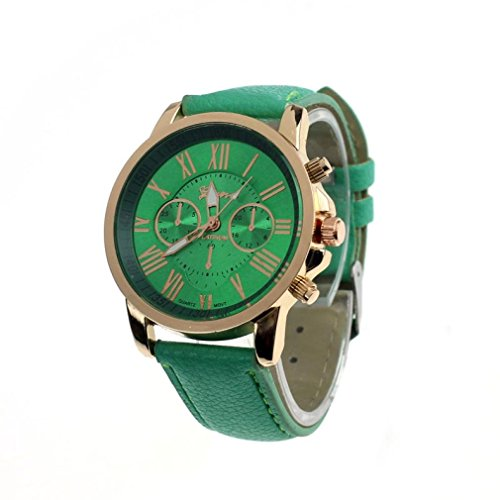 kingko Uhren Neue Damenmode Genf roemischen Ziffern Leder Analog Quarz Armbanduhren mintgruen