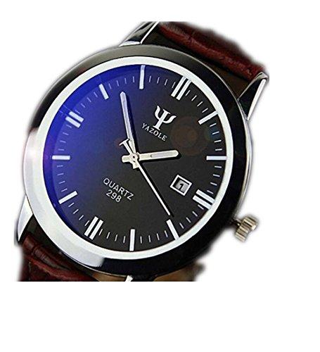 kingko Uhren Herren Armbanduhr Luxusmode leder Blue Ray Glas Analog Quarzhr Chronograph Uhr