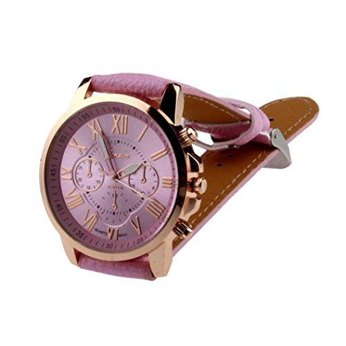 kingko Uhren Neue Damenmode Genf roemischen Ziffern Leder Analog Quarz Rosa Armbanduhren