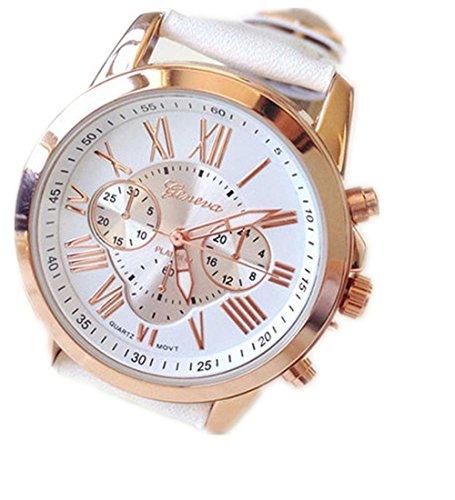 kingko Uhren Neue Damenmode Genf roemischen Ziffern Leder Analog Quarz Armbanduhren