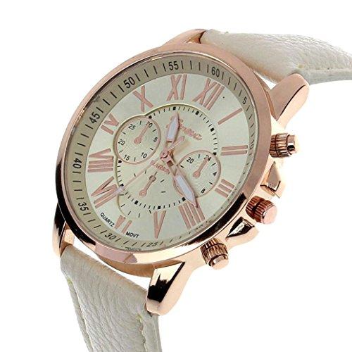 kingko Genf roemischen Ziffern Kunstleder analoge Quarz Armbanduhr beige