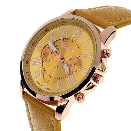 kingko Genf roemischen Ziffern Kunstleder analoge Quarz Armbanduhr Gelb