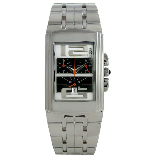 Chronotech CHTCT 7018B 03M Herren Edelstahl Armband Band Schwarz Zifferblatt Uhr