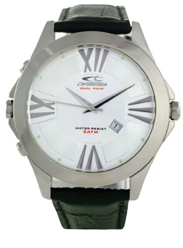 Chronotech CHTCT 7636M 01 Herren Edelstahl Lederband Weiss Zifferblatt Uhr