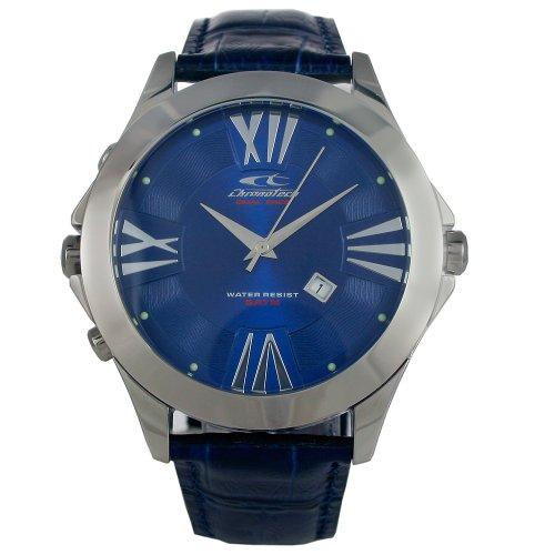 Chronotech CHTCT 7636M 05 Herren Edelstahl Lederband Blau Zifferblatt Uhr