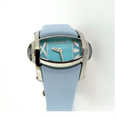 CHRONOTECH CT7681L 01 Quarz Damenuhr mit Blauem Lederband
