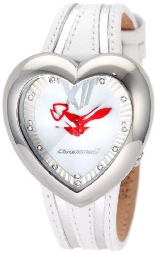 Chronotech Damen CT 7688M 01 Herzform weisse Leder Uhr