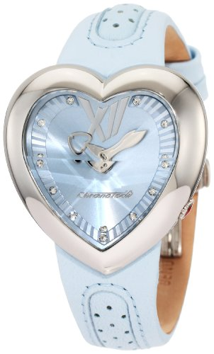 Chronotech Damen CT 7688M 04 Herzform Light Blue Leder Uhr
