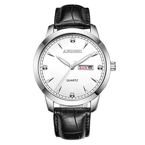 bellesie Wasserdicht Retro Schwarz Leder Casual silberfarbenes Herren Klassische Quarz Armbanduhr mit Kalender