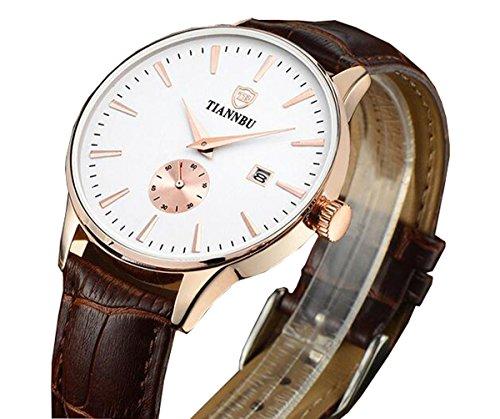 bellesie Wasserdicht Rose Gold Herren superduenn Chronograph Quarz Handgelenk Uhren braun mit Leder Datum